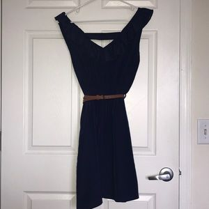 Dresses & Skirts - Navy Ruffle Sleeveless Belted Dress